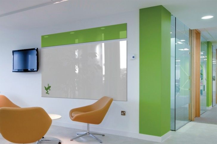 Furniture, Modern Office Design In White Green Tone With Large Green White  Glass Dry Erase Board From Ikea With Comfortable Yellow Chairs ~ Never  Worry ...