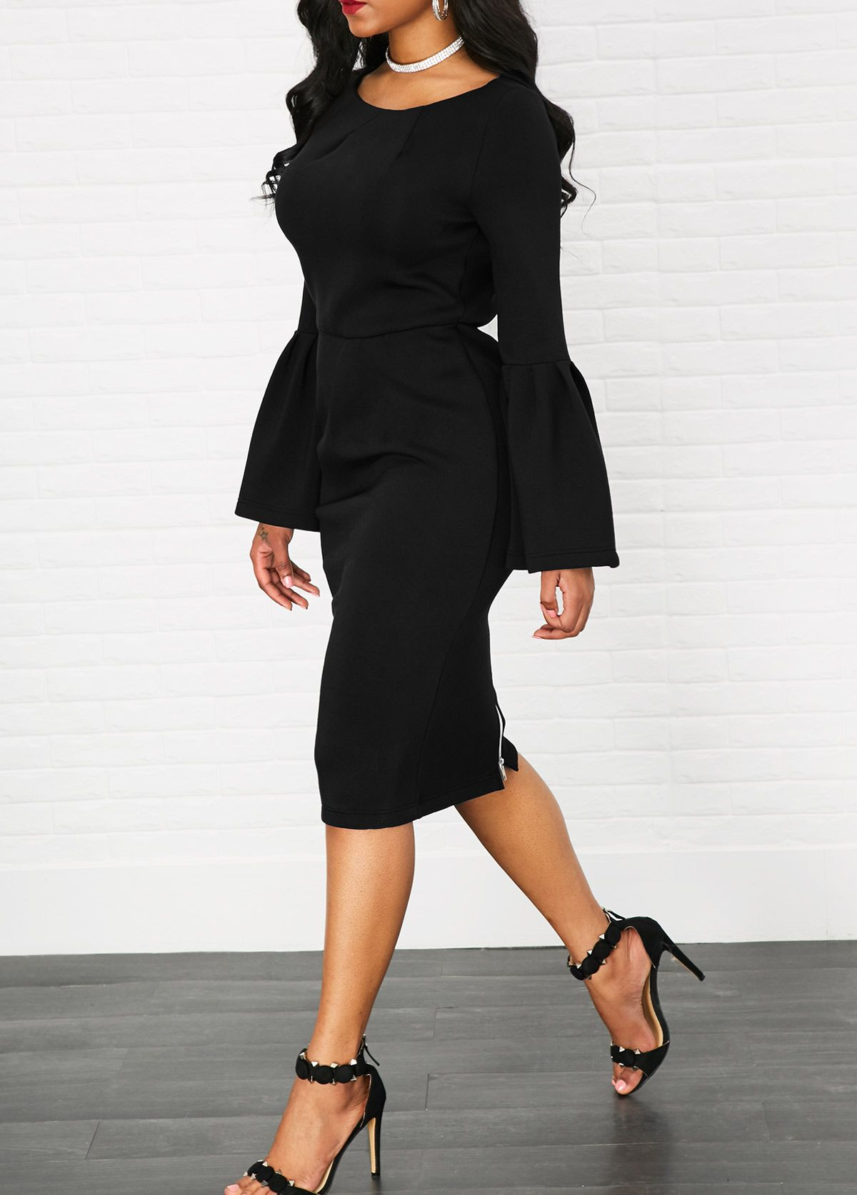 Flare sleeve high waist zipper back black dress black wardrobes