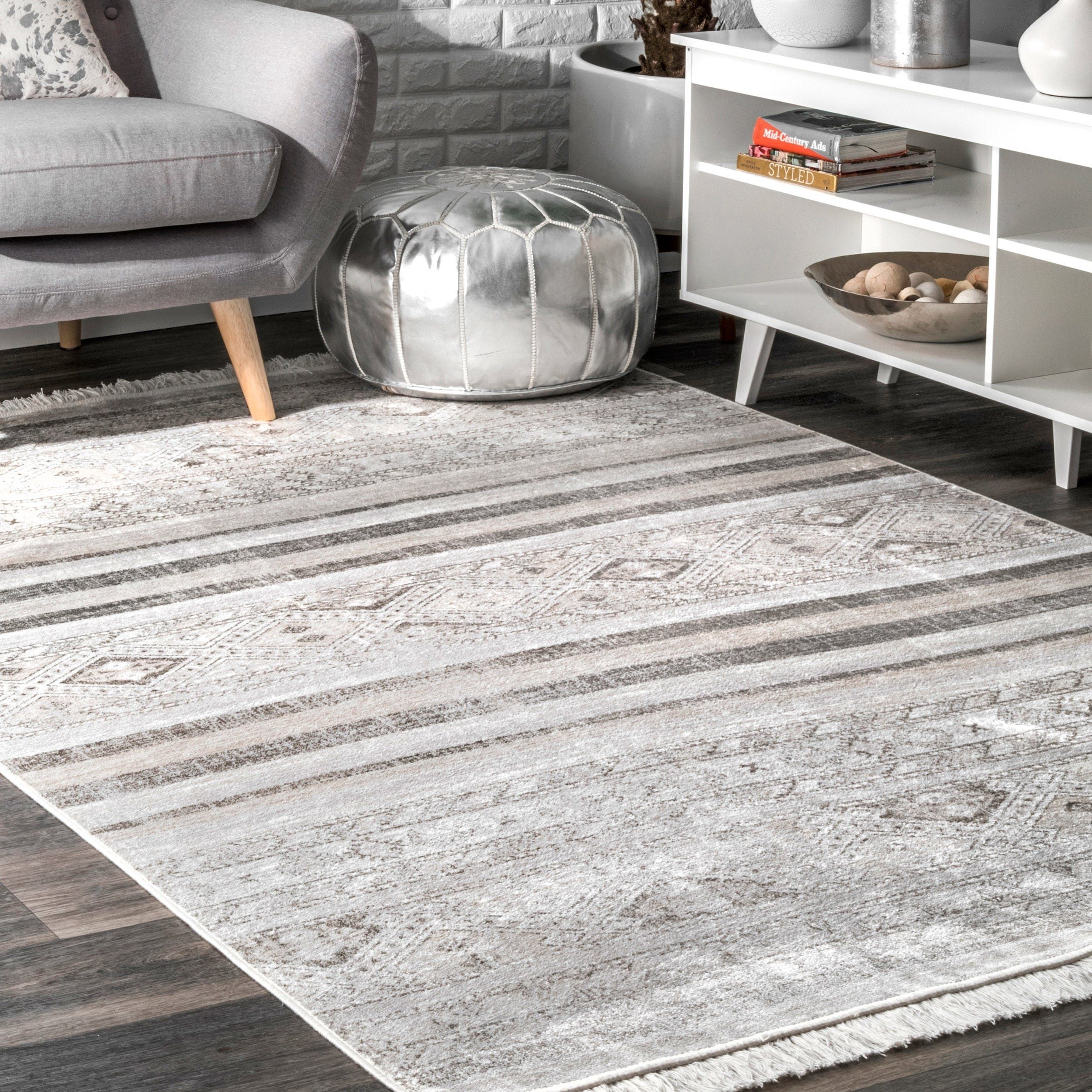 Porch Den Soto Grey Tribal Ombre Tassel Area Rug 10 X 14 10 X 14 Gray Area Rugs Cool Rugs Rugs