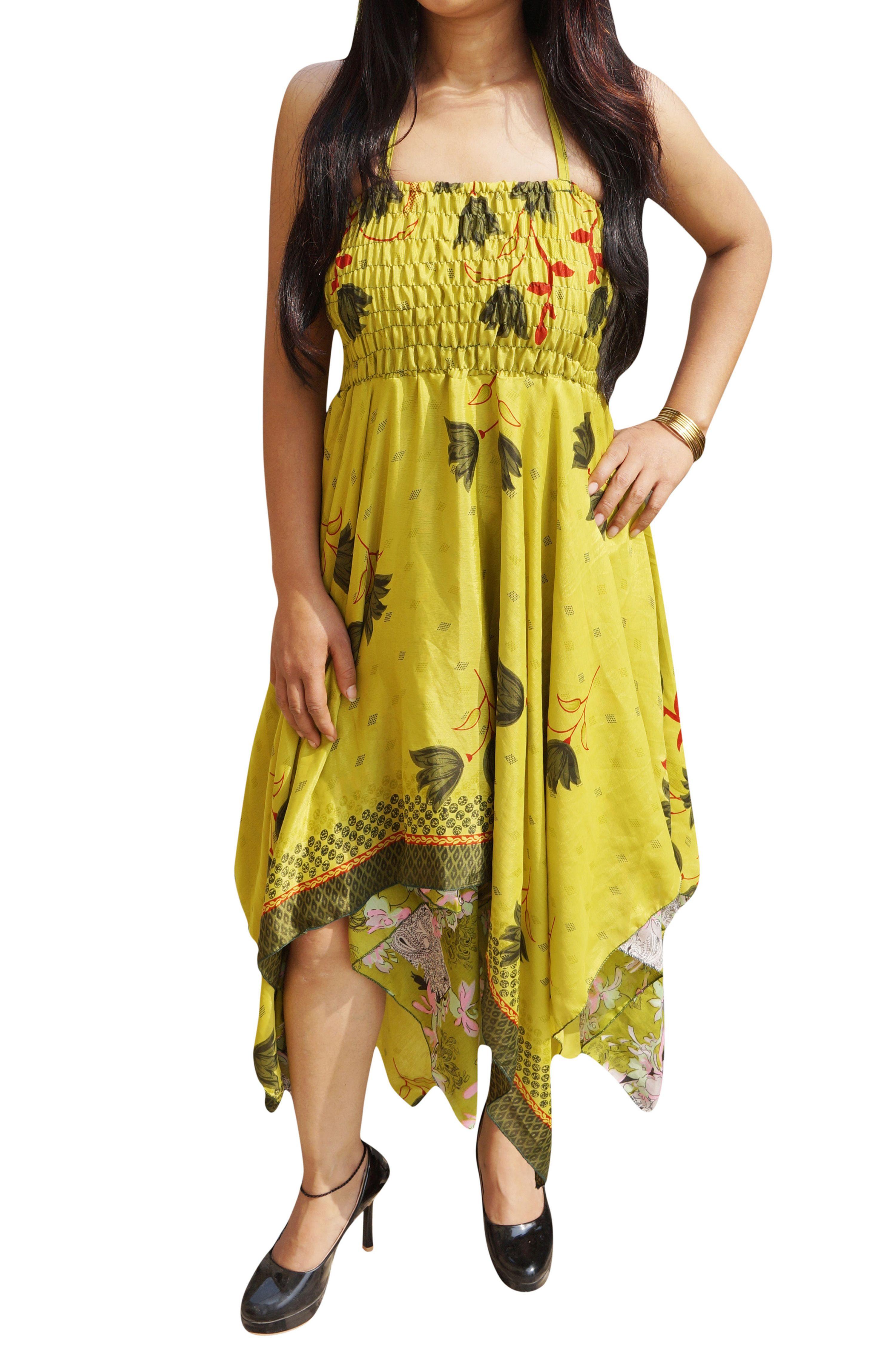 8a075d7306 Mogul Interior - Mogul Womens Halter Dress Handkerchief Hem Two Layer  Printed Gypsy Beach Summer Dresses