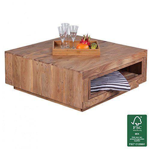 Beistelltisch mit schublade modern  FineBuy Couchtisch Massiv-Holz Akazie 88 x 88 cm Design Wohnzimmer ...