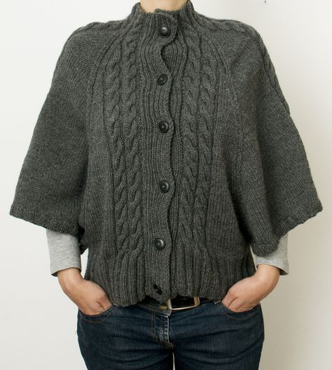 Free Knitting Pattern for Cabled Batwing Cardigan - Sweater with ...