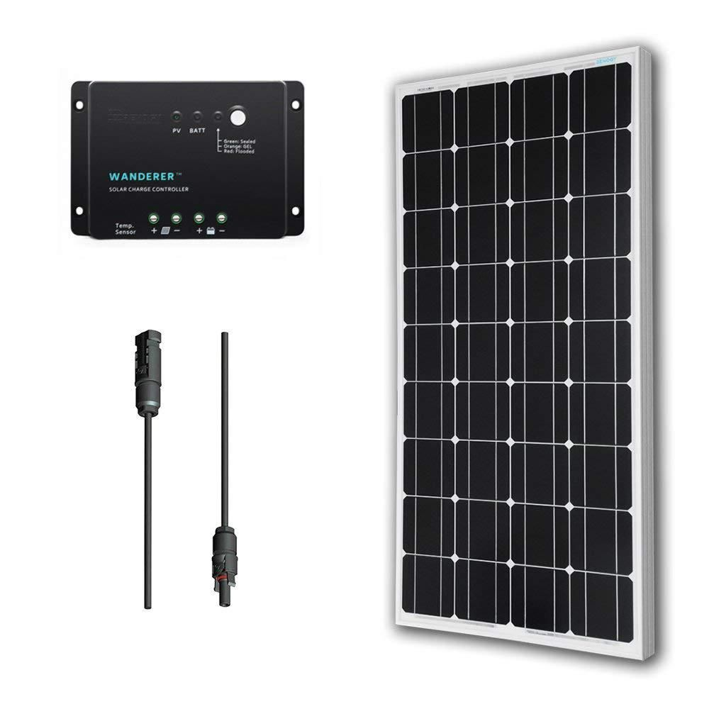 Renogy 100 Watt 12 Volt Monocrystalline Solar Panel Off Grid Bundle Kit With 30 Amp Negative Grou Solar Panel Kits 12v Solar Panel Monocrystalline Solar Panels