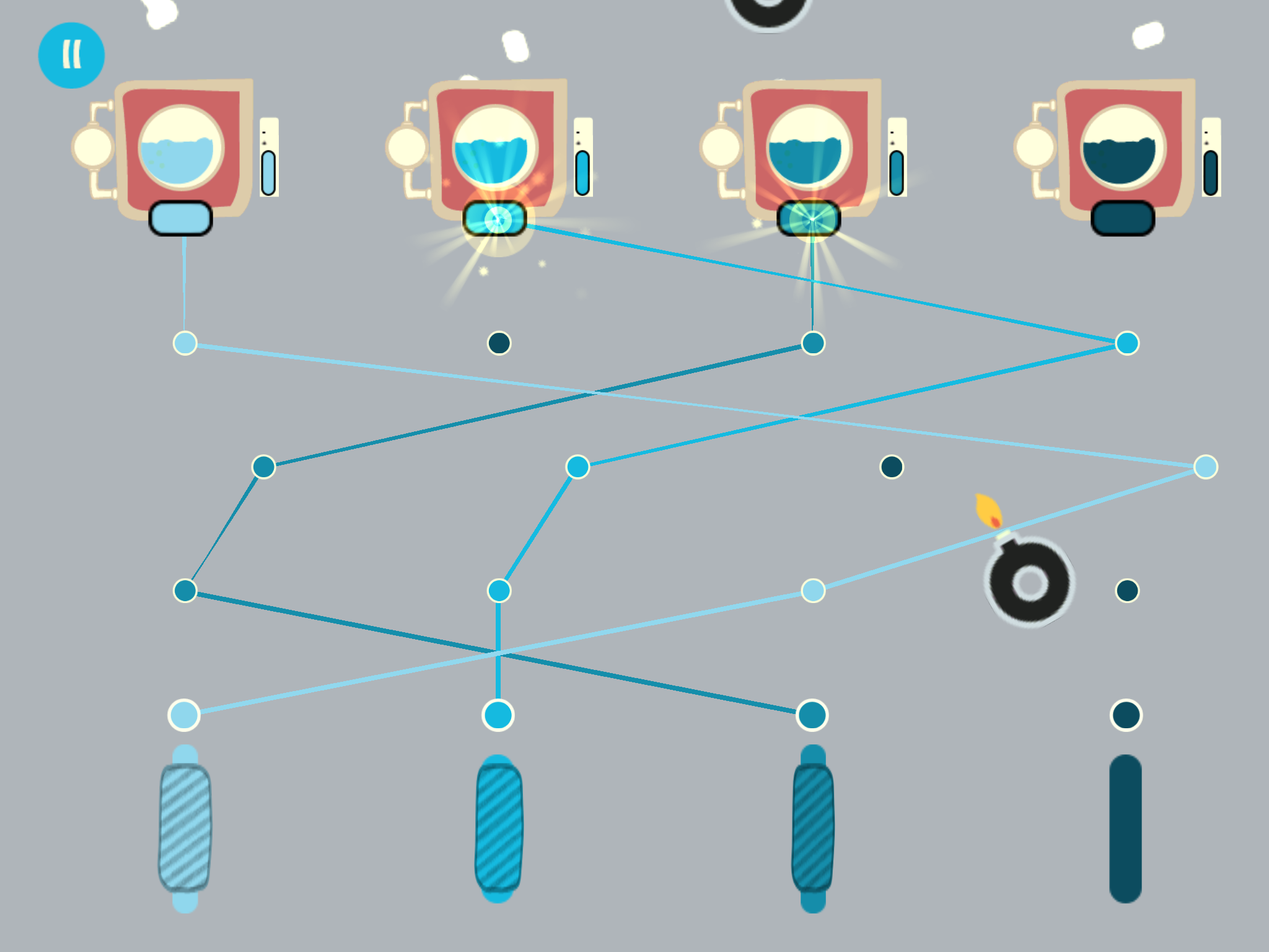 Step 5 Nylla Game: connect the dots with the same color to make bobbins of yarn.    Available on Apple Store. www.econyl.com #graphic #design #educational #game #videogame #nylla #turtle #recycling