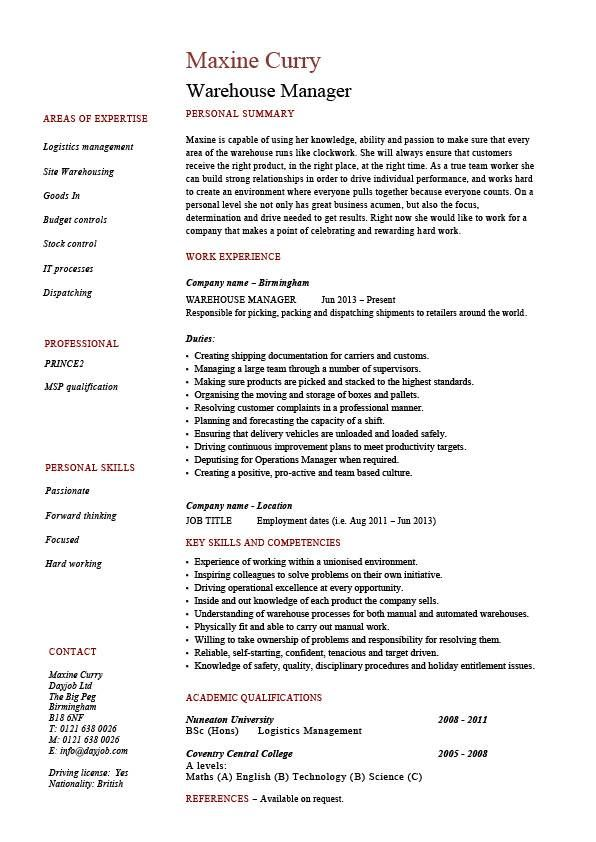 Warehouse manager resume, examples, job description, stock - job description examples for resume