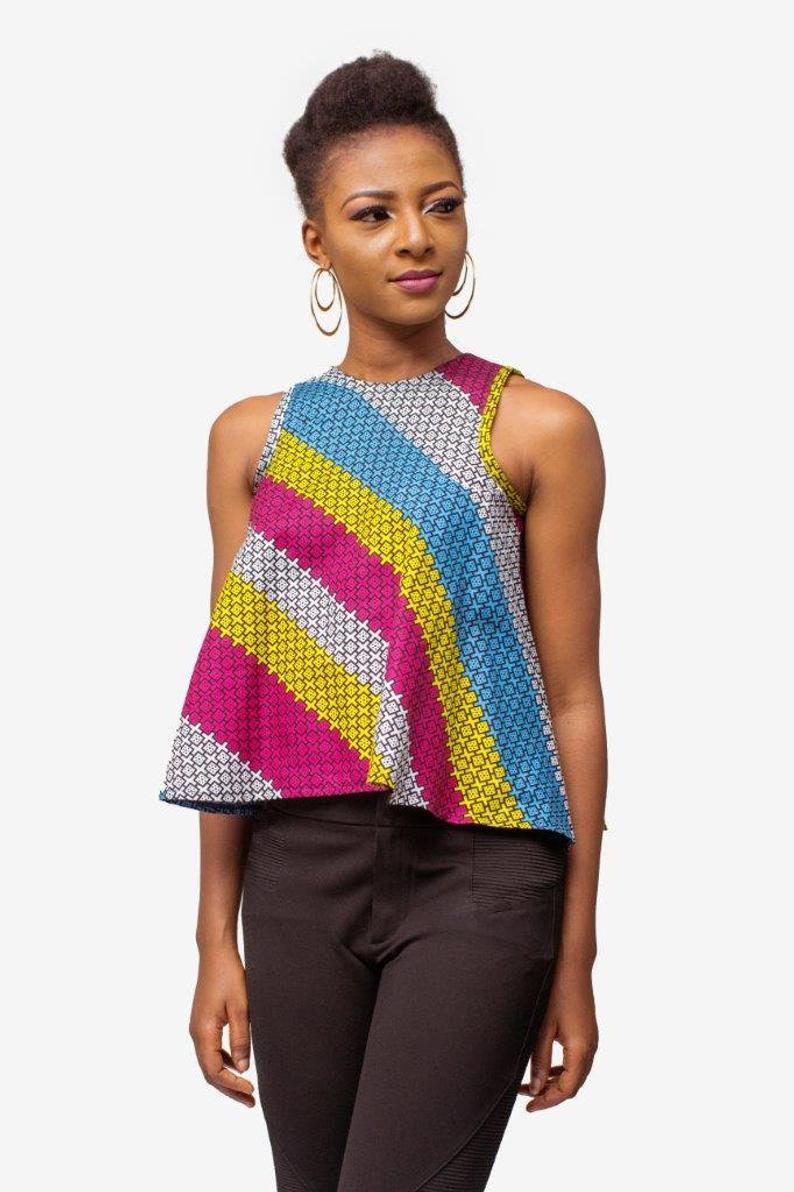 African Print Top, Ankara Top, African Womens Clothing, Womens Clothing, Womens wear, Womens Top #africanprintdresses