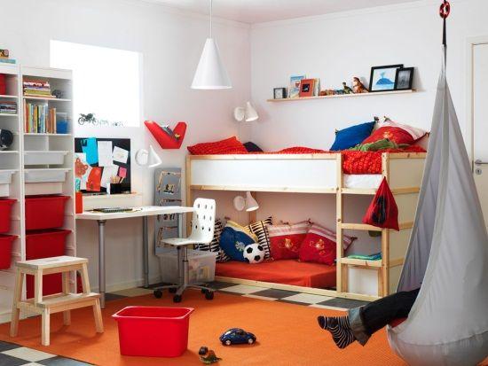 I like the shelf above the bed IKEA room with KURA bed | H O M E ...