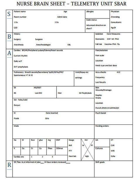 Nurse Brain Sheets - Telemetry Unit SBAR Nurse brain sheet, Sbar - telemetry nurse sample resume