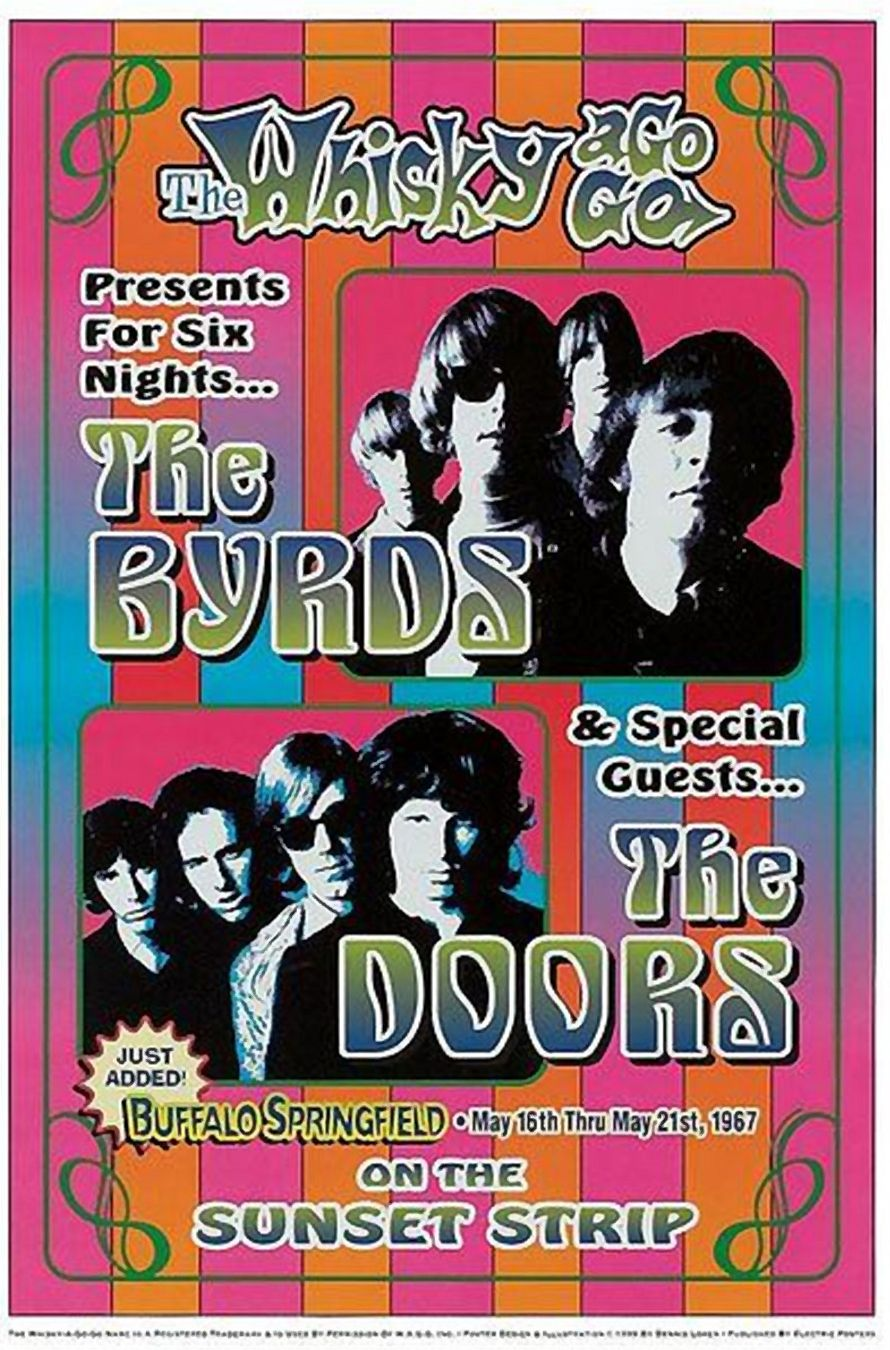 Doors The - The Doors \u0026 Byrds at Whisky A Go Go Poster 1967 in Psychedelic Posters