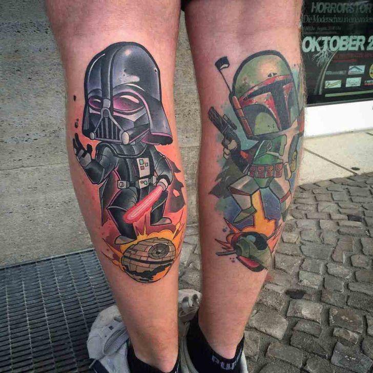 84bed72c5 New School Star Wars Tattoos on Calves | ink | Star wars tattoo ...