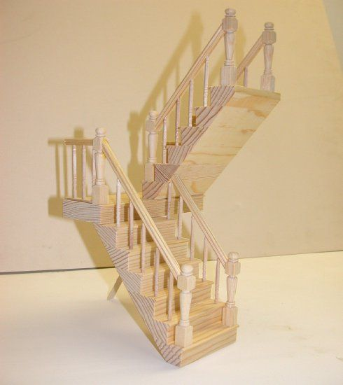 1:12 scale Natural Finish Dolls House Stair Case with Fixed Right Bannister Rail