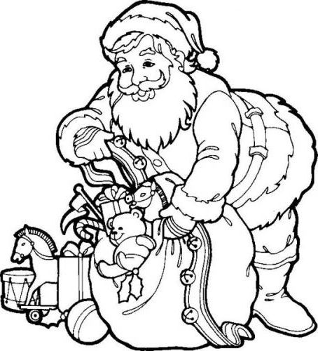Santa Claus Preparing Gifts For Children Coloring Page