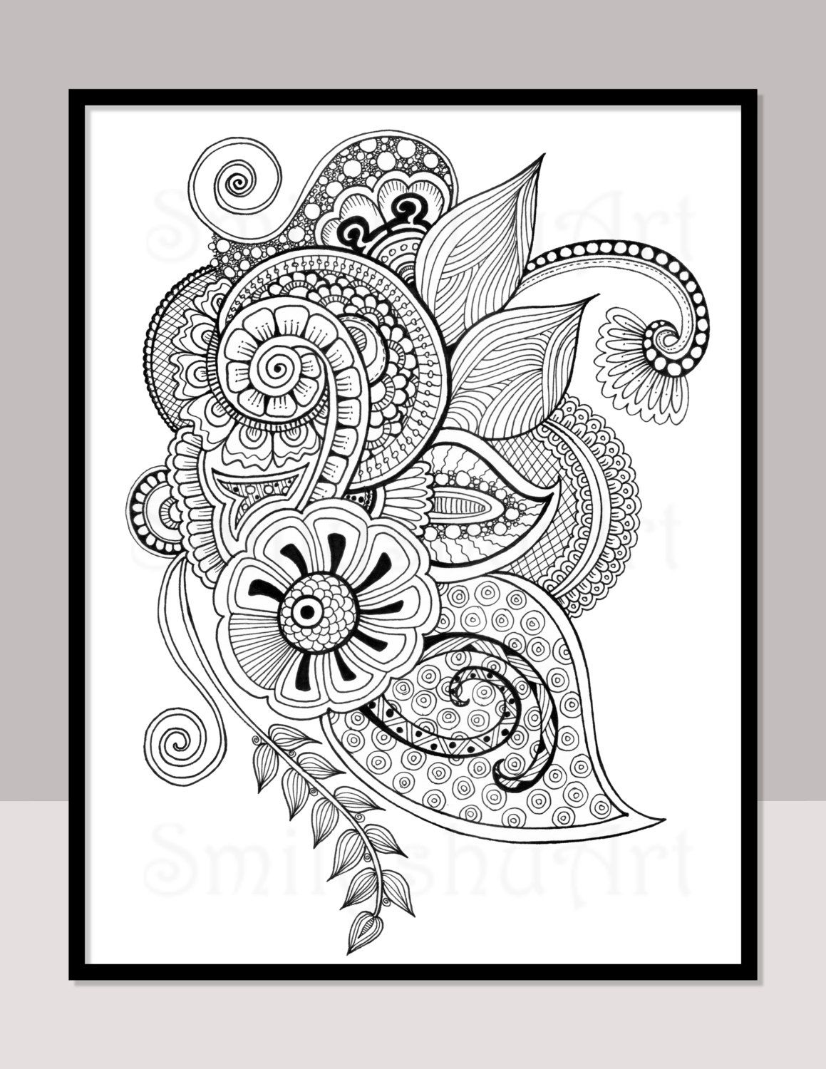 printable zentangle coloring page for adults mindfulness coloring henna design tattoo design. Black Bedroom Furniture Sets. Home Design Ideas