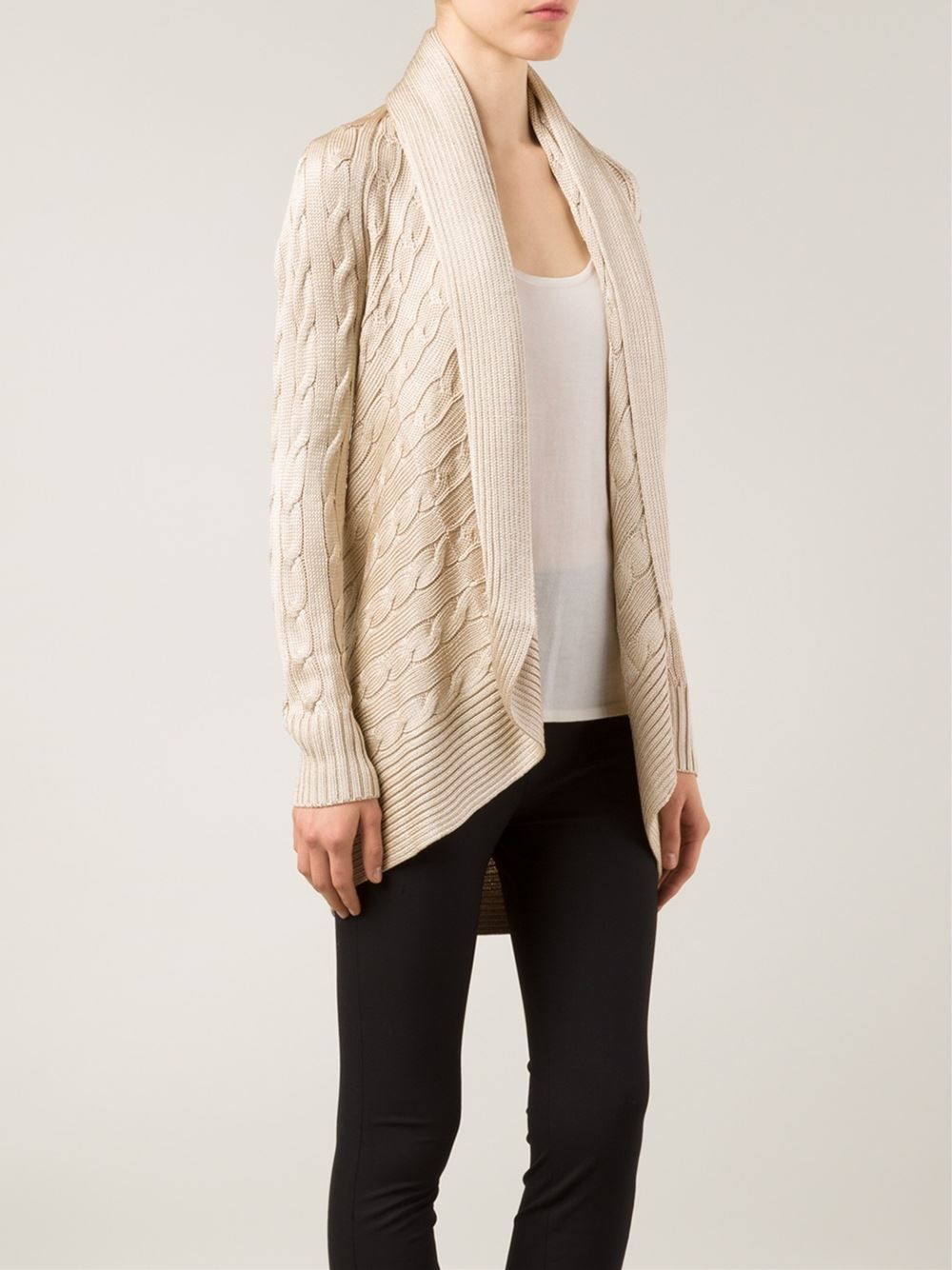 ralph-lauren-black-beige-cable-knit-open-front-cardigan-product-1 ...