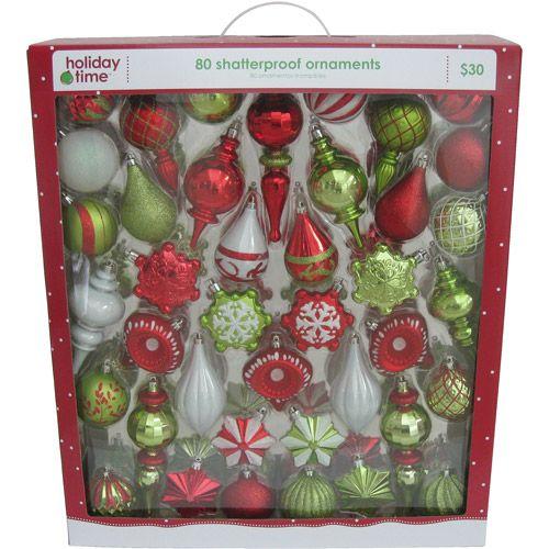 Holiday Time Shatterproof Ornaments Walmart Com Red Christmas Tree Black Christmas Trees Christmas Tree Themes