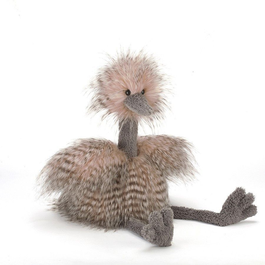 A rather splendiferous quirky bird, Odette Ostrich is a superstar! Her silky feathers are wonderfully funky in gorgeously dusty pink tones, and those squidgy long legs with their fluffy grey fur help