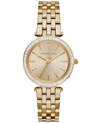 Michael Kors Women s Mini Darci Gold-Tone Stainless Steel Bracelet ... a130036194