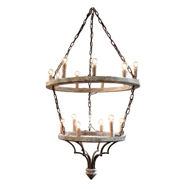 Rustic Wood Ring Dining Chandelier: Unique Foyer Light: Rusted Iron And Wood Rings Chandelier