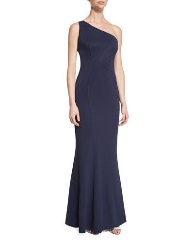 Melina Asymmetric One-Shoulder Gown, Navy