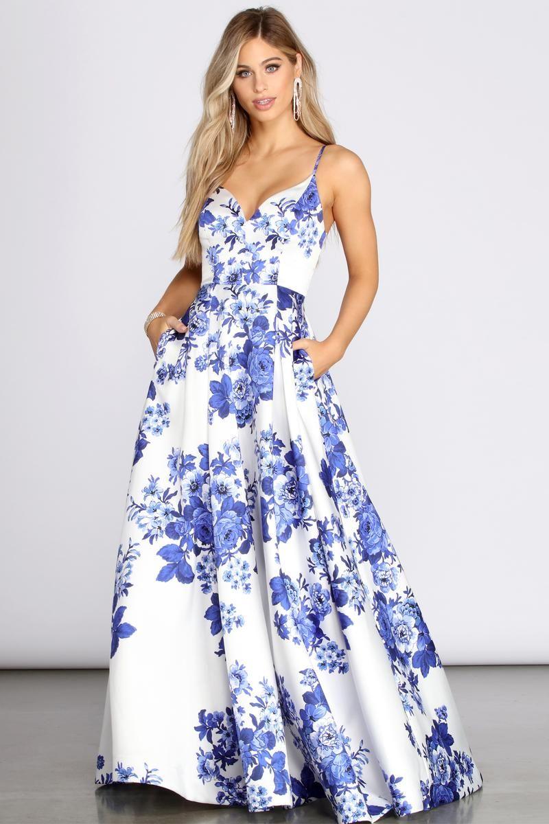 Hayden Fancy Floral Ball Gown Ball Gowns Cocktail Dresses Evening Wear Floral Dress Summer [ 1200 x 800 Pixel ]