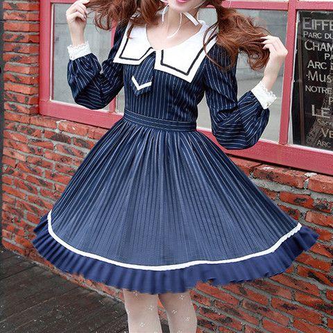 S-XL Blue Lolita Striped Seifuku Dress SP165448