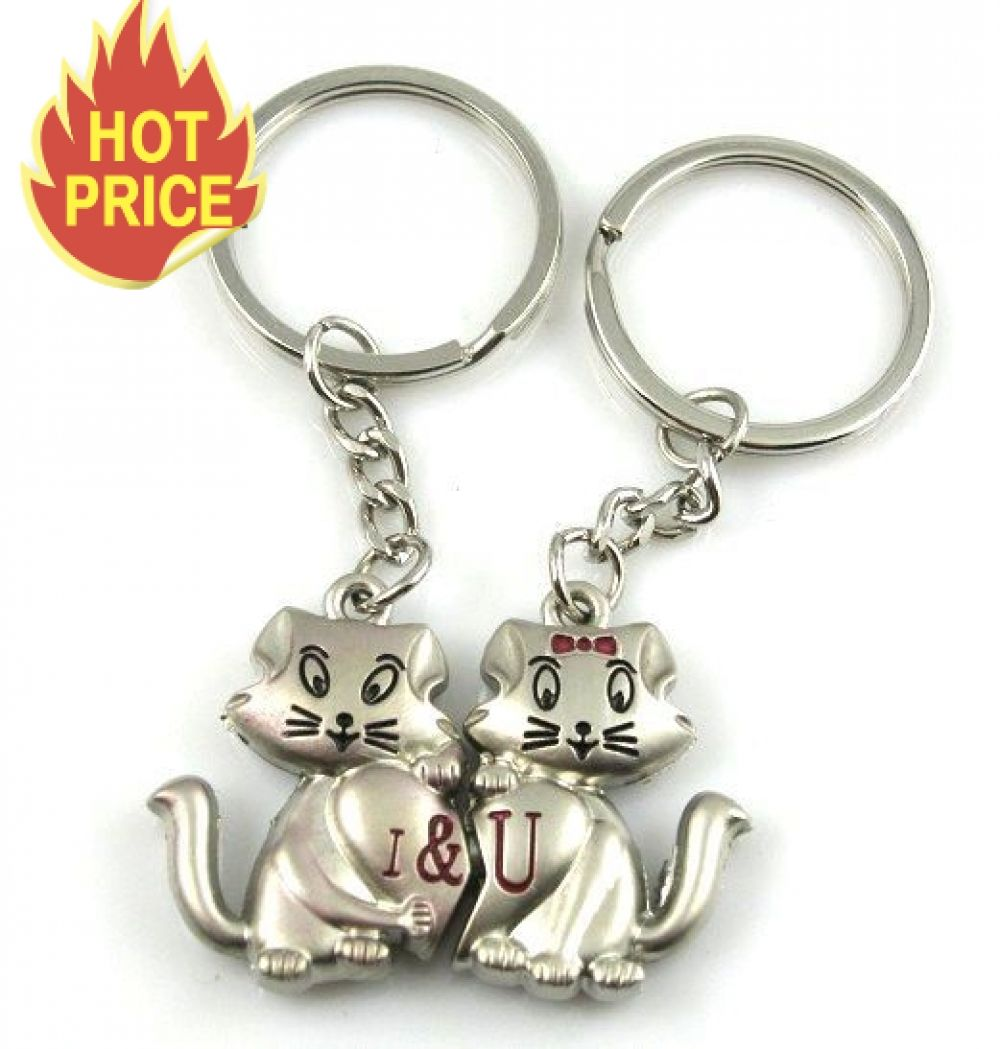 44c4778d513 1pair Couple Keychain Cats Key Ring Silver Plated Lovers Love Key ...