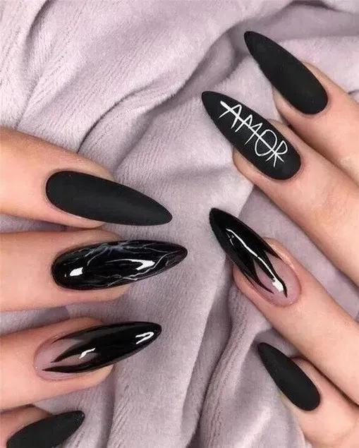 135 Fabulous Black Nail Designs For Ladies In 2020 Gel Nail Designs Nail Designs Coffin Nails Designs