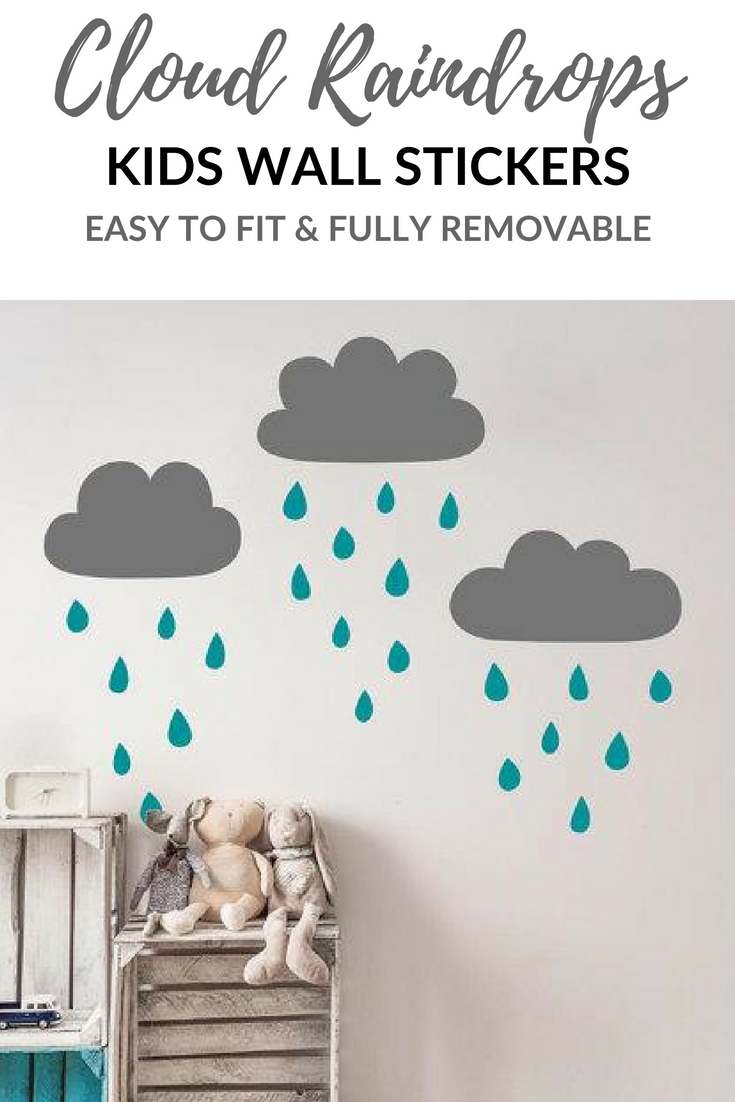 Neutral Raindrop Cloud Combo Wall Art Stickers Perfect For A Kids Room Or Nursery Playroom Cu Cloud Nursery Decor Baby Room Wall Stickers Nursery Decor Boy
