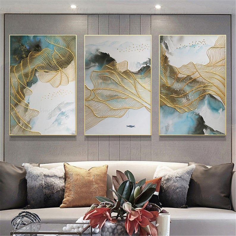 3 Pieces Gold Lines Abstract Framed Painting Canvas Wall Art Pictures For Living Room Wall Decor Home Decor Handmade Blue Acrylic 3d Texture Abstract Canvas Painting Wall Art Pictures Etsy Wall Art Living room wall framed pictures