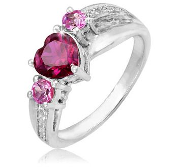 $19.99 - Created Ruby and Pink Sapphire Sterling Silver Heart Ring