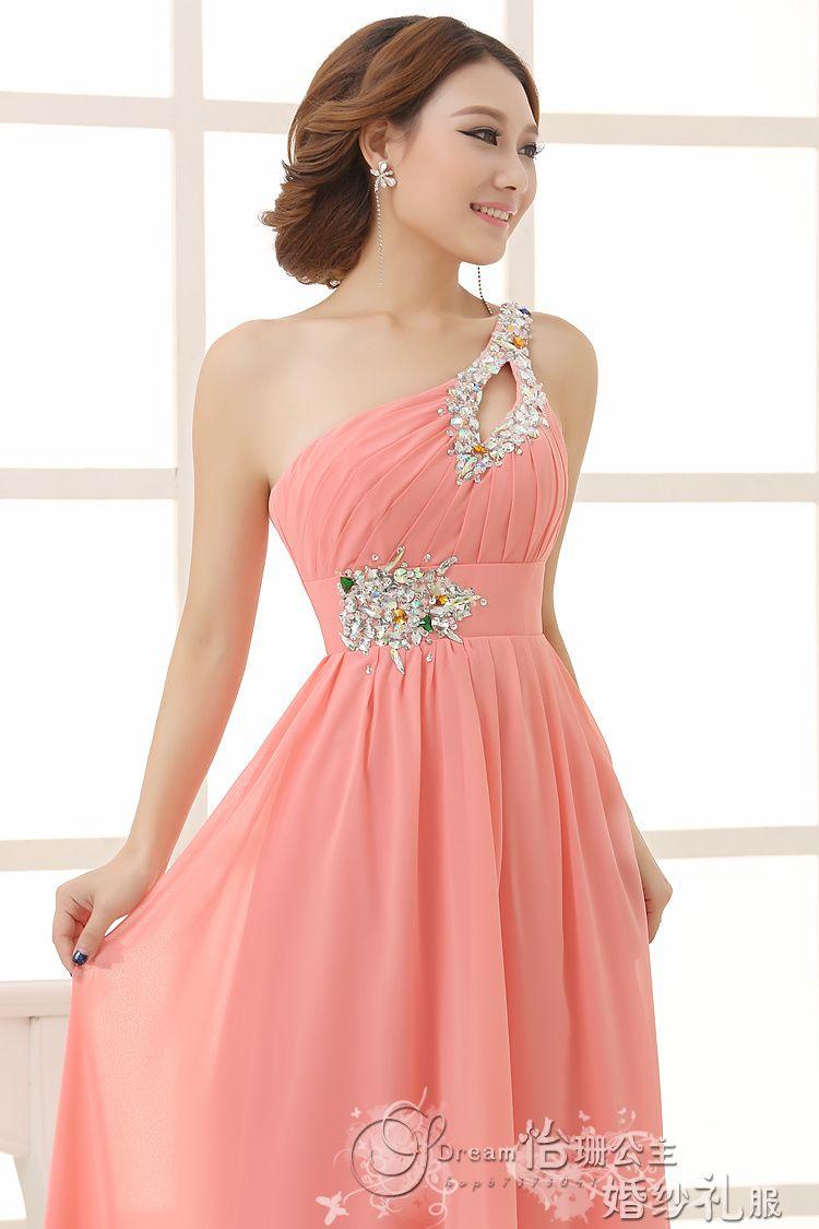 Elegant Brief Dress One Shoulder Cheap Coral Bridesmaids Dresses ...