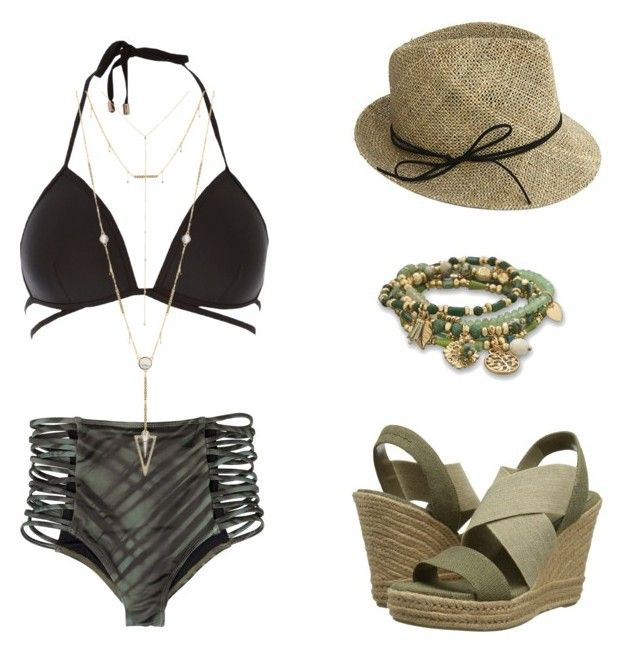 """""""Swimsuit for Apple Shape"""" by sparklestrut ❤ liked on Polyvore featuring River Island, RVCA, Lauren Ralph Lauren, BillyTheTree, Justine Hats and House of Harlow 1960"""