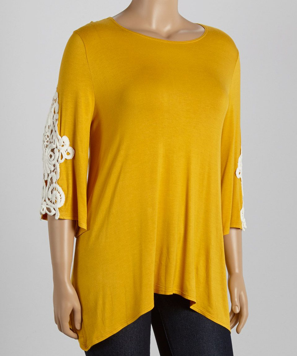Look what I found on #zulily! MOA Collection Mustard Lace-Sleeve Tee - Plus by MOA Collection #zulilyfinds