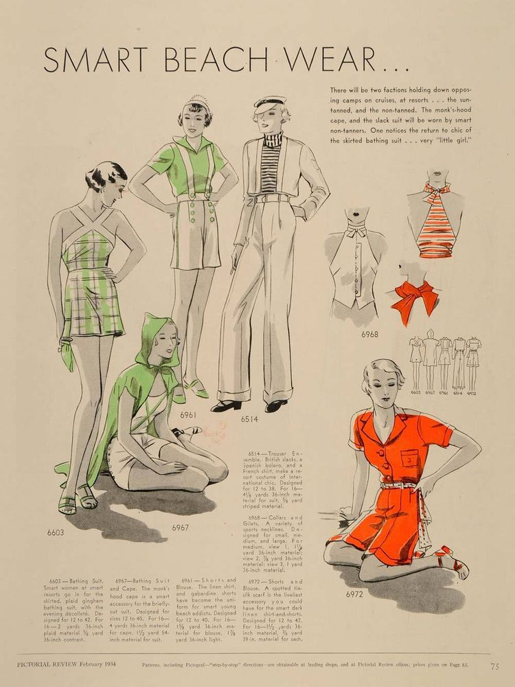 1934 Article Clothing Patterns Swimsuit Beachwear Dress Original