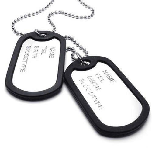 Pendentif Homme – Chaîne 68 cm – Plaque militaire Nom Prénom – Dog Tag –  Style Militaire Armée – pour Homme et Femme – Couleur Noir Argent – Avec  Sac Cadeau ... 95df56c25dd8