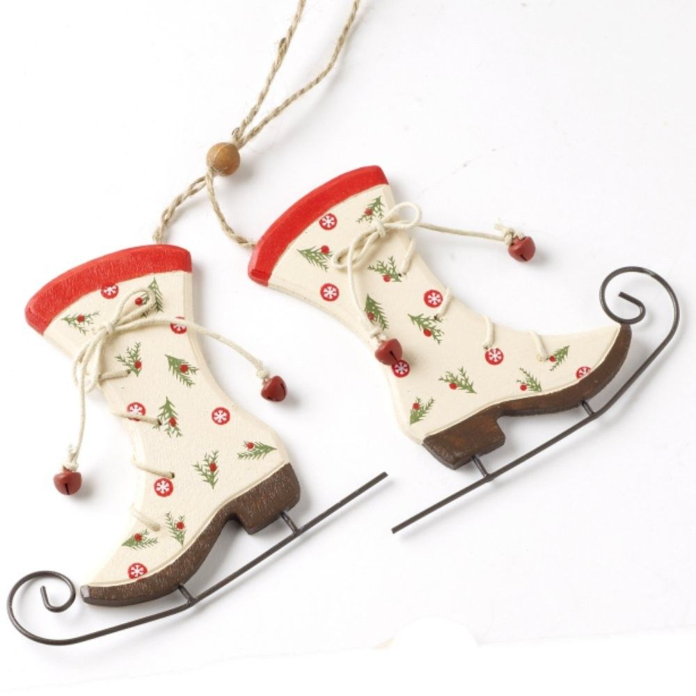 Vintage style wooden ice skate Christmas tree decoration | red and ...