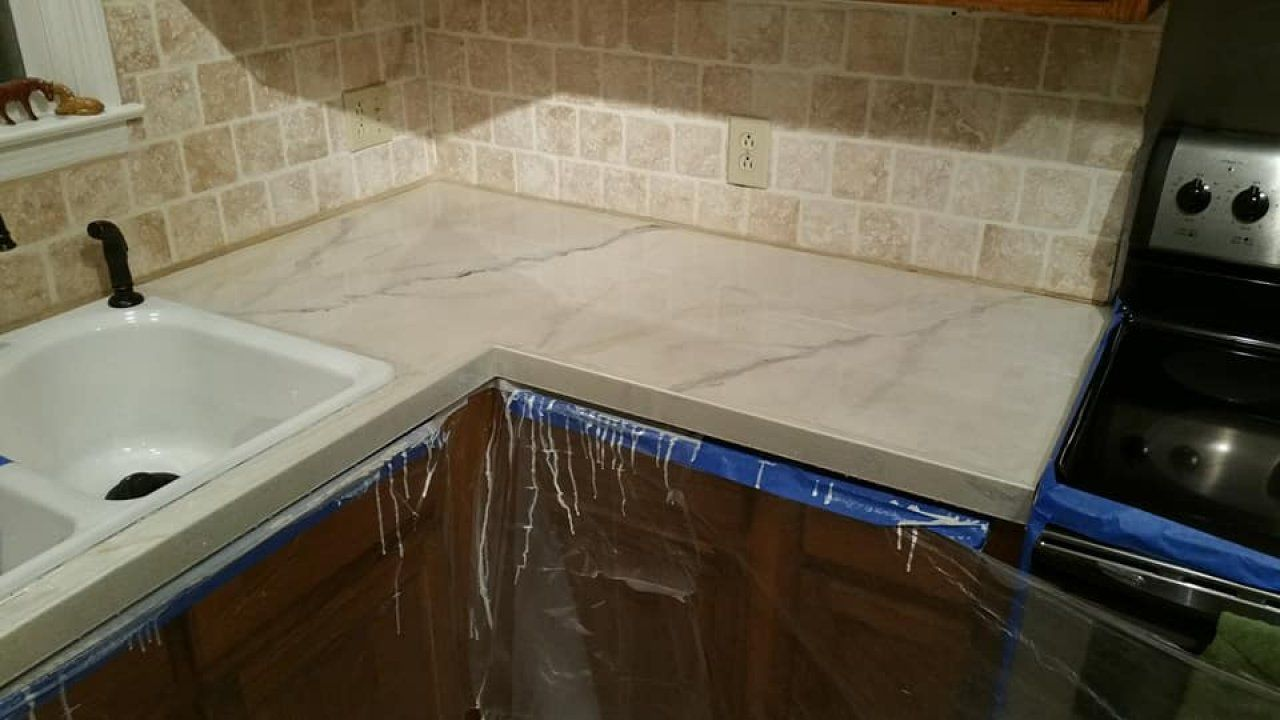 Metallic Marble Epoxy Kitchen Countertop In Southern Pines North