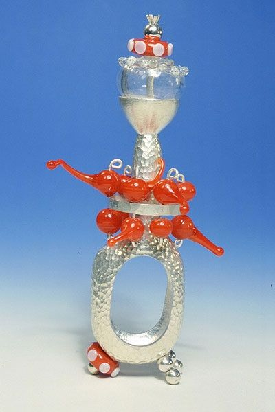 Kathryn Wardill. Ring: Standing Ring Series, 2001. Silver, glass. 8 x 3 X 3 cm. Ring Object(18 in series).