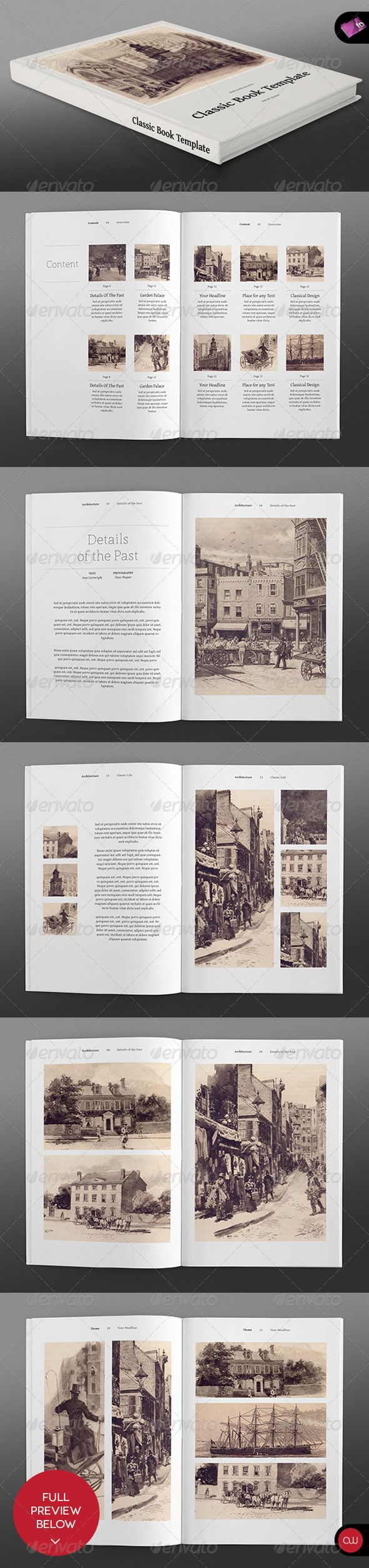 Classic Series O Portrait Book InDesign Template Only Available Here