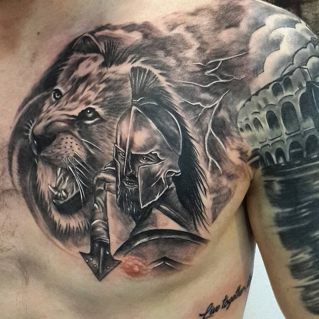 Image result for spartan tattoo with lion