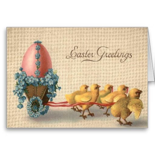 Easter Chick Chariot Colored Egg Forget Me Not Greeting Card