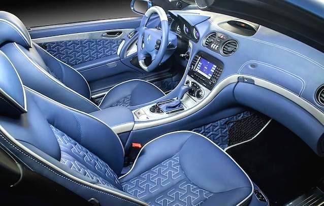 mercedes benz sl interior by russian tuning pany amazing stitch Mercedes-Benz W163 mercedes benz sl interior by russian tuning pany amazing stitch work tripod shapes stitched in white thread over blue leather adorn the seats
