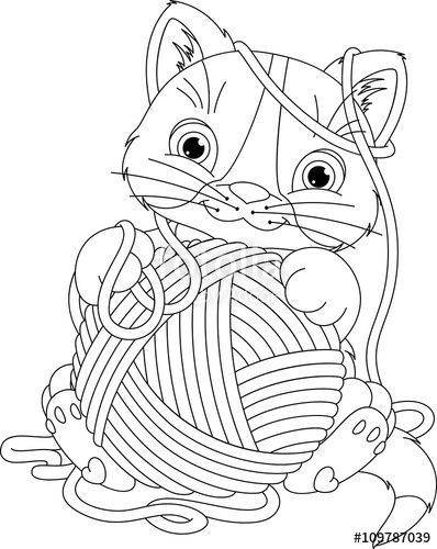vettoriale kitten with yarn ball coloring page