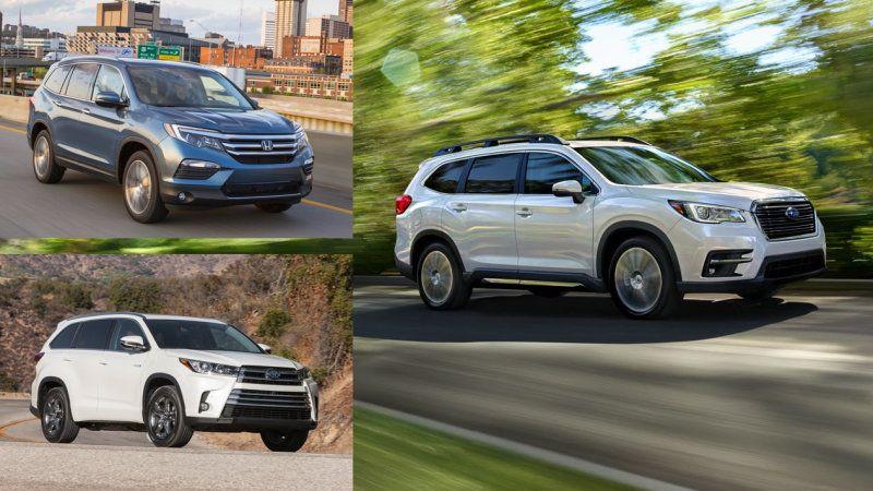 Comparison 2019 Subaru Ascent Vs Honda Pilot Vs Toyota Highlander Autoblog Honda Pilot Toyota Highlander Subaru