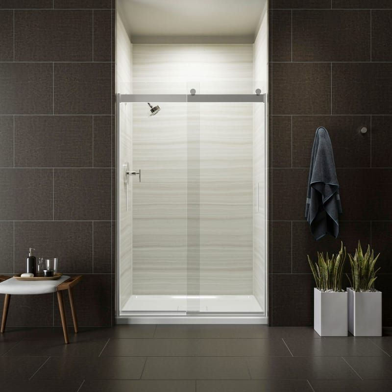 Kohler K 706008 L Levity 44 48 Clear Sliding Shower Door With Cleancoat Techno Bright Silver Showers Shower Doors Sliding Shower Doors Frameless Shower Doors Frameless Sliding Shower Doors
