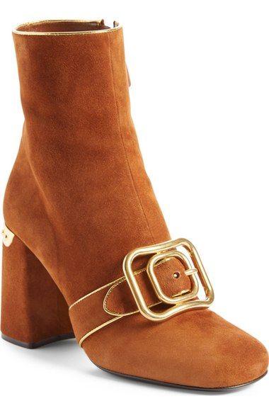 d928bf1894 PRADA Buckle Band Suede Bootie (Women). #prada #shoes #boots | Prada ...
