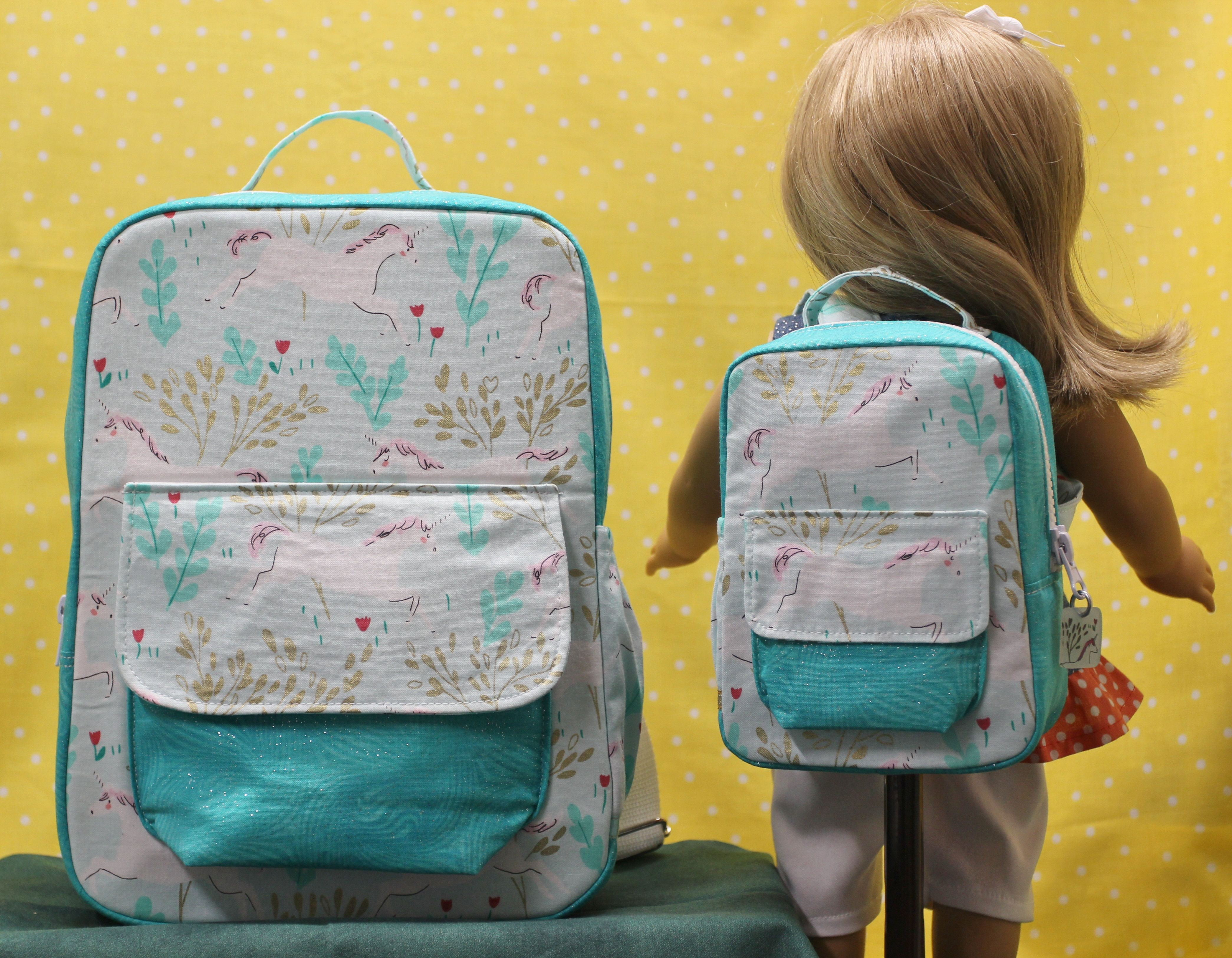 667798741152 Child size backpack and matching doll backpack find them at  Justforfunstitches.etsy.com