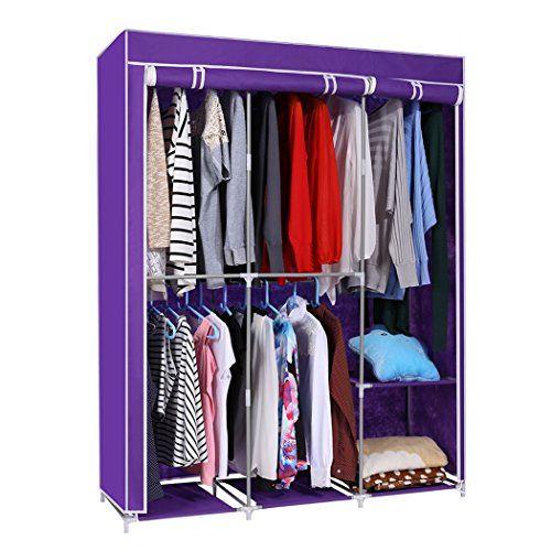Portable Closet Double Road Stand Alone Wardrobe Storage Organizer Us Stock Sturdy Durab Diy Clothes Hangers Storage Closet Organization Diy Clothes Rack