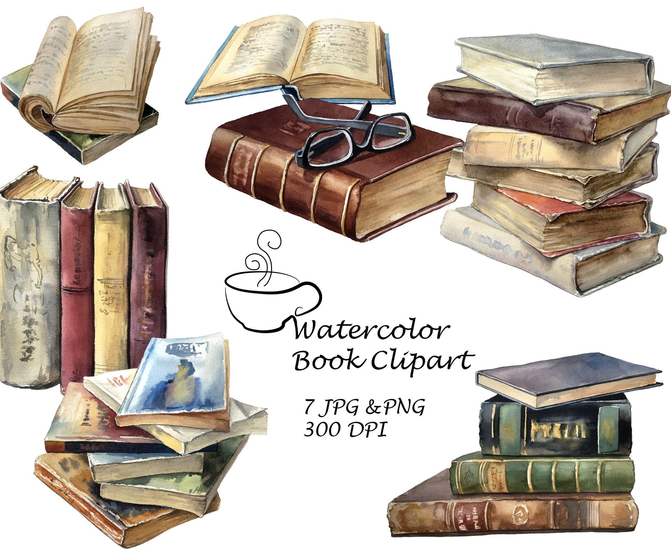 Watercolor Book Clipart Reading Clipart Literature Clipart Etsy In 2021 Watercolor Books Clip Art Book Clip Art