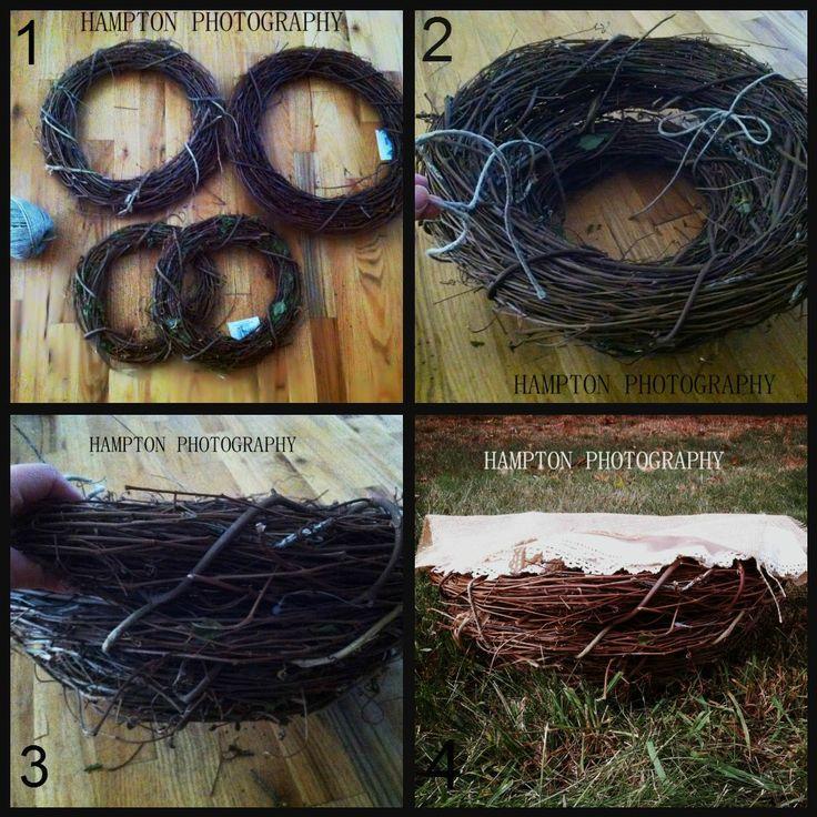 Newborn nest basket photography prop diy hampton photography by corinne rogers